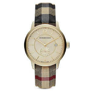 Burberry bu10001 Honey Dial Honey Check Fabric-Coated Leather Unisex Watch