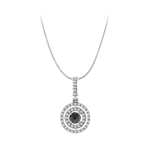 Marco B Black Onyx CZ Double Circle Pendant in 14K White Gold