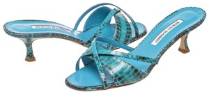 Manolo Blahnik Turquoise Blue Sandals
