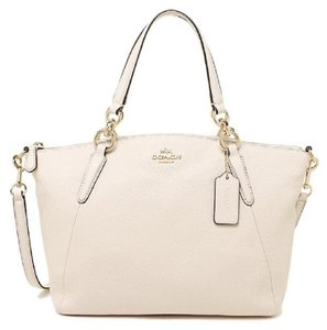 Coach Kelsey Pebbled Leather Crossbody Satchel in Chalk White