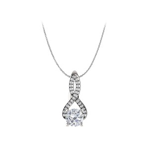 Marco B Cubic Zirconia Infinity Style Pendant in 14K White Gold