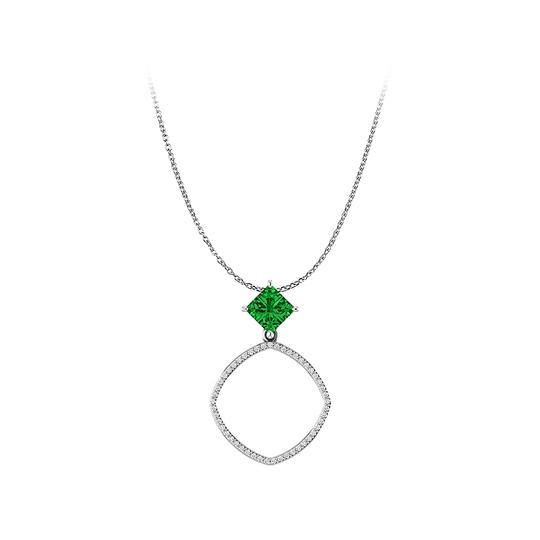 Preload https://img-static.tradesy.com/item/23376726/green-white-gold-faceted-cut-prong-set-emerald-and-cz-accented-pendant-necklace-0-0-540-540.jpg