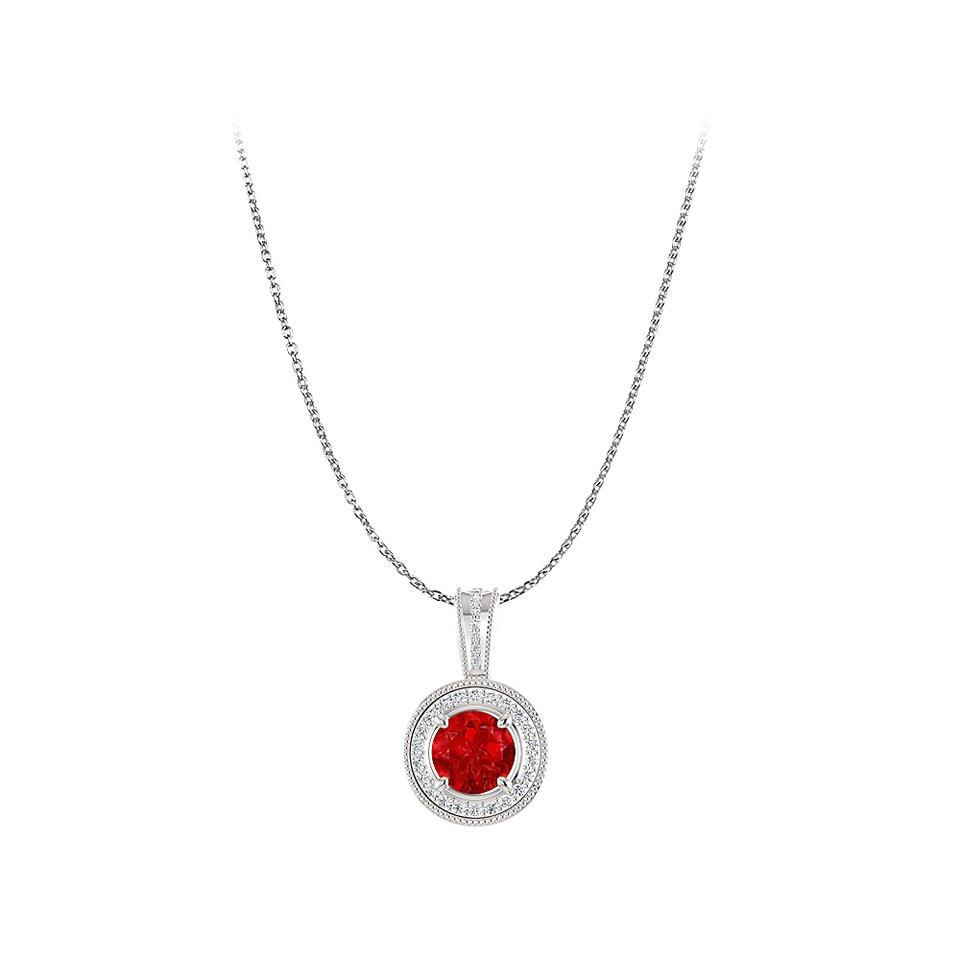 Red white gold free 14k lobster clasp chain with ruby cz pendant marco b free 14k gold lobster clasp chain with ruby cz pendant mozeypictures Image collections