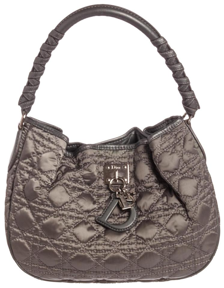 5bb955d9781 Dior Cannage Quilted Charming Gray Satin Leather Tote - Tradesy