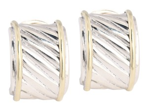 David Yurman Two-Tone Sterling And 14K Cable Earrings
