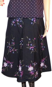 Covington Boho Embroidered Gypsy Vintage Skirt Black