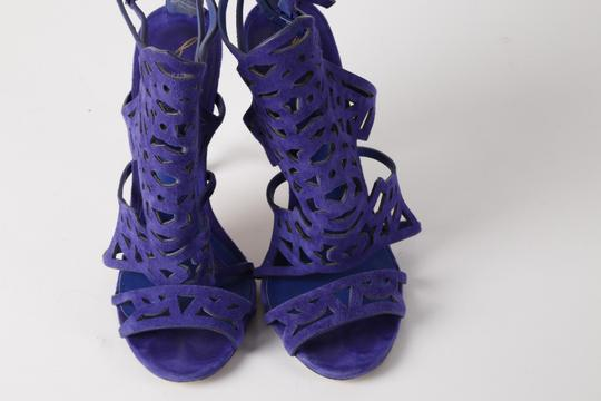 Brian Atwood Suede Gladiator Purple Sandals Image 1