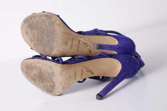 Brian Atwood Suede Gladiator Purple Sandals Image 10