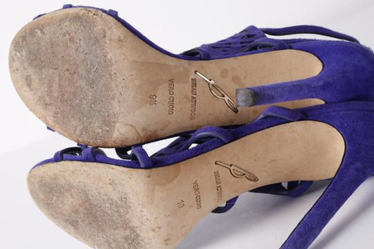 Brian Atwood Suede Gladiator Purple Sandals Image 11