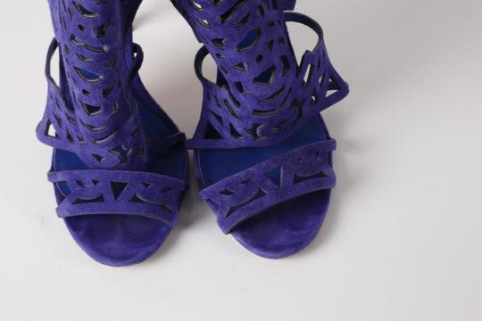 Brian Atwood Suede Gladiator Purple Sandals Image 3