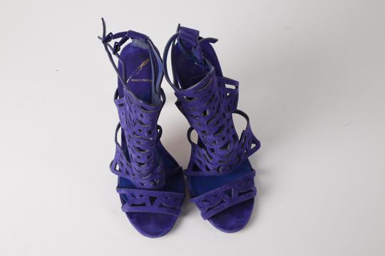 Brian Atwood Suede Gladiator Purple Sandals Image 4