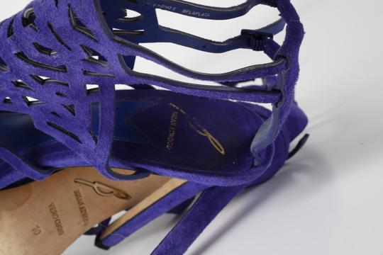 Brian Atwood Suede Gladiator Purple Sandals Image 7