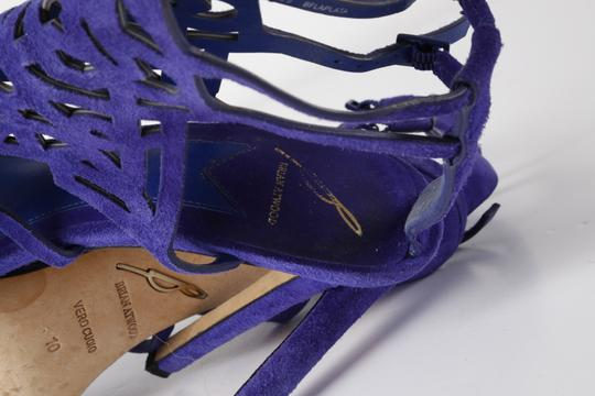 Brian Atwood Suede Gladiator Purple Sandals Image 8