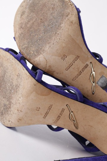 Brian Atwood Suede Gladiator Purple Sandals Image 9