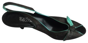 Scanlan & Theodore Charcoal with metallic turquoise accents Pumps