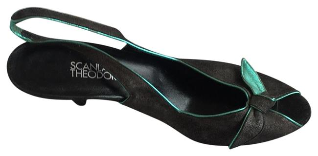 Item - Charcoal with Metallic Turquoise Accents Peep Toe Sling Back Pumps Size EU 40 (Approx. US 10) Regular (M, B)