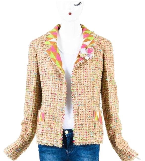 Item - Pink Tan Green Gold Blue 04a Autumn 2004 Tweed Fr 36 Us Jacket Size 2 (XS)