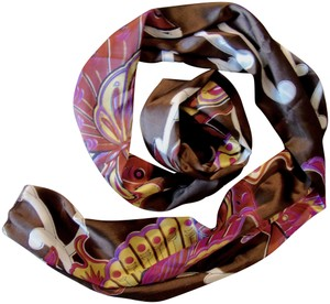 India Boutique Soft Satin Chocolate Brown Pink Butterfly Print Long Scarf