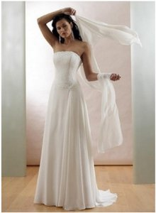 Maggie Sottero White Chiffon Mariella: S250 Formal Wedding Dress Size 12 (L)
