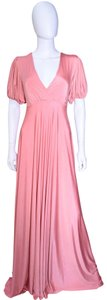 salmon Maxi Dress by Lisa Nieves Jersey Prom Maxi Stretchy Empire Waist