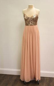 Donna Morgan Rose Quartz Sequin / Chiffon Coco Formal Bridesmaid/Mob Dress Size 14 (L)