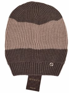 Gucci New Gucci 310777 Men's Wool Brown Beige Interlocking GG Slouchy Beanie