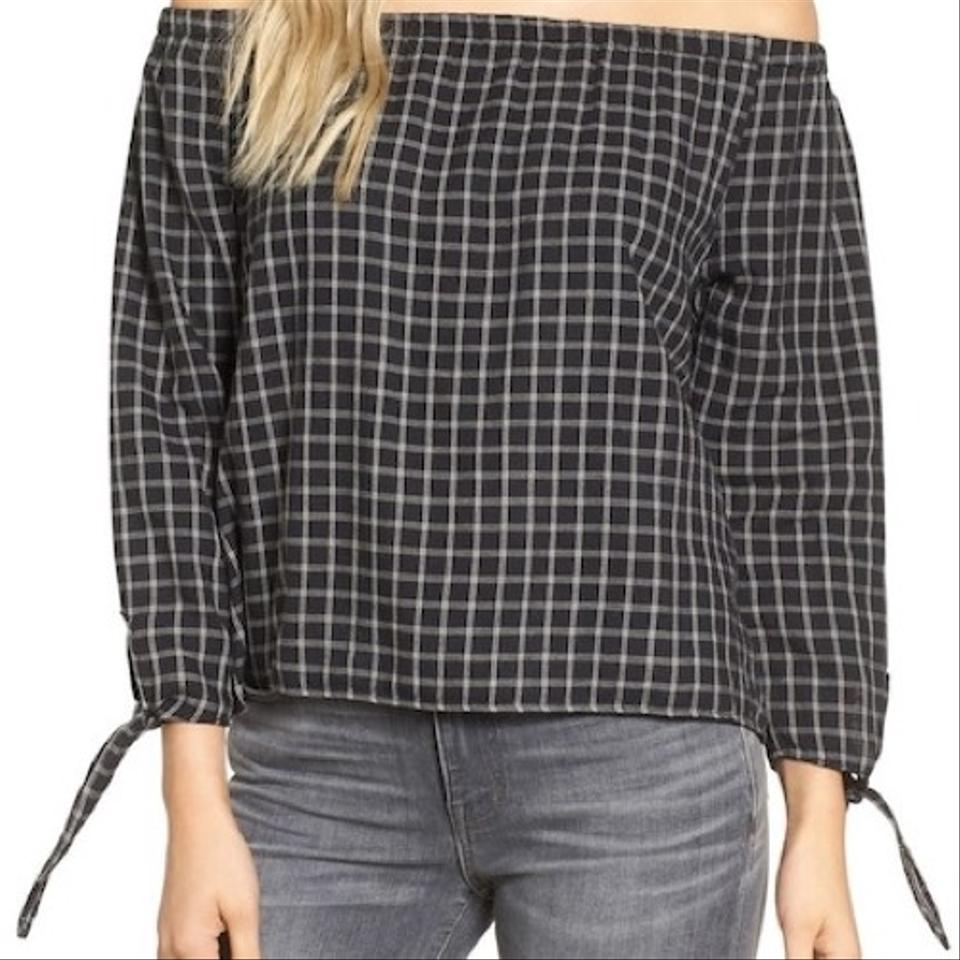 bd8f846039daf8 Madewell Black and White Plaid Off Shoulder Blouse Size 4 (S) - Tradesy