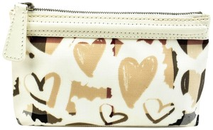 "Burberry Leather & ""Heart Check"" Zip Coin/Cosmetic Bag"
