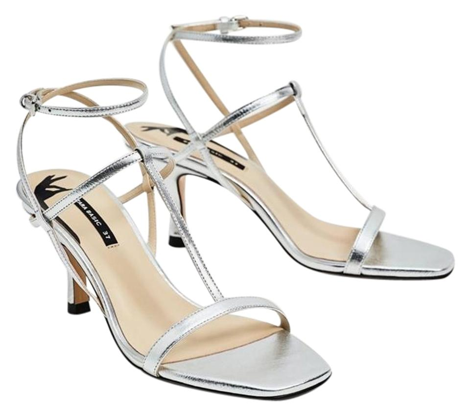 25bdfe6d179 Zara Silver Cow Leather T-strap New Sandals Size US 9 Regular (M