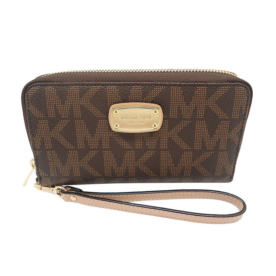 93ebcfc47c77 Michael Kors Brown Electronics Large Flat Multifunction Phone Case Wristlet  Wallet