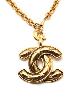 Chanel Rare XL Extra Large CC Timeless Quilted Long gold chain necklace