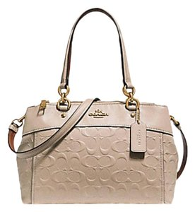 54d75236e879 Coach Christie Mini Brooke Carryall Embossed F25928 57523 Beige Leather  Satchel