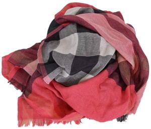 Burberry New Burberry Women's $395 Cashmere Silk Bright Rose Half Mega Check