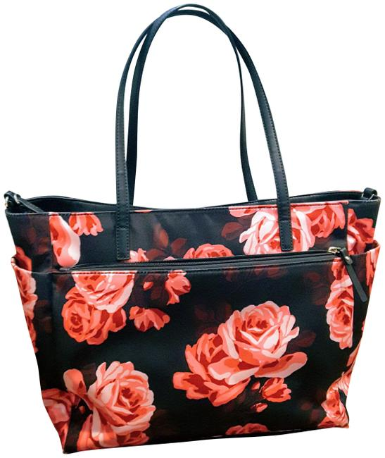 Item - Watson Lane Betheny Pink Black Floral Print Nylon with Leather Trim Diaper Bag