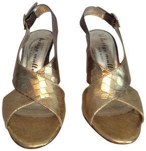 Bettye Muller Diamond Stamped Leather Gold Sandals