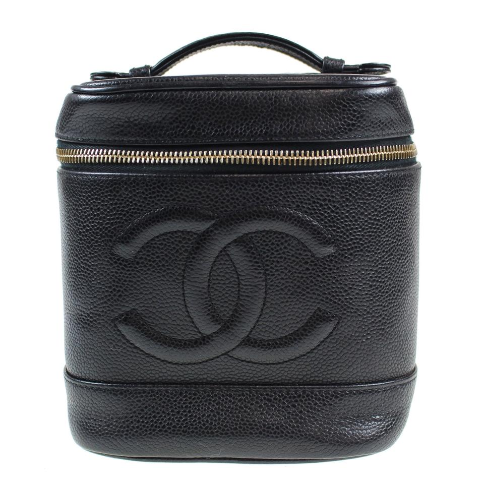 d7d2a9625a7c Chanel CHANEL CC Vanity Cosmetic Bag Caviar Skin Black Leather Vintage  Image 0 ...