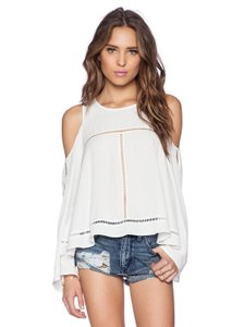 Lovers + Friends Festival Embroidered Cut-out Off Shoulder Bohemian Top cream