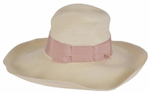 Gucci NEW Gucci Women's Natural 309138 $435 Wide Brim Floppy GG Straw Hat M