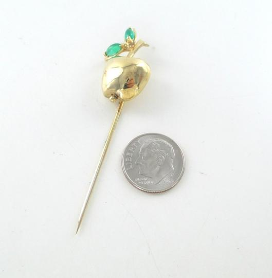 Other 14K SOLID YELLOW GOLD STICK PIN HAT BIG APPLE EMERALD 6.9 GRAMS FRUIT JEWELRY Image 1