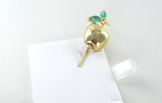 Other 14K SOLID YELLOW GOLD STICK PIN HAT BIG APPLE EMERALD 6.9 GRAMS FRUIT JEWELRY Image 2