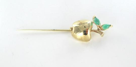 Other 14K SOLID YELLOW GOLD STICK PIN HAT BIG APPLE EMERALD 6.9 GRAMS FRUIT JEWELRY Image 6