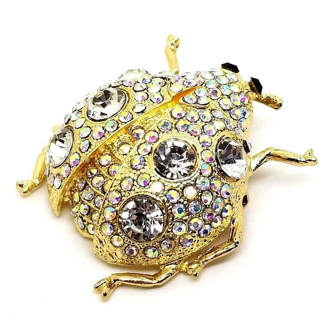 Item - Gold Large Gold-tone Multi-round Crystal Bug Pin Brooch