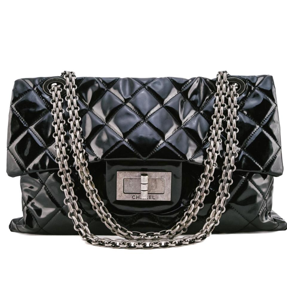 9e9fa4c76 Chanel 2.55 Reissue Classic Flap Xxl Black Patent Leather Weekend/Travel Bag