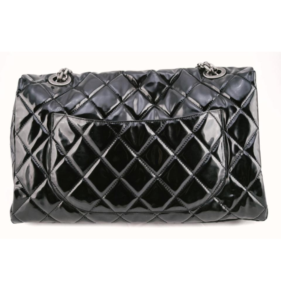 aaff9174d1ea Chanel Classic Flap 2.55 Reissue Xxl Black Patent Leather Weekend/Travel Bag