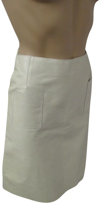 Item - Off White Leather with 2 Front Open Pockets - 42 Skirt Size 6 (S, 28)