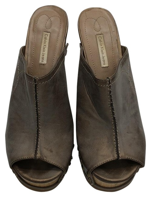 Item - Metal Brown and Gray Leather Jeans Mules/Slides Size US 8 Regular (M, B)