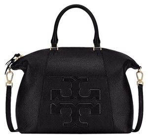 Tory Burch Leather Bombe Crossbody Tote in Black
