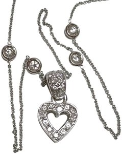 Roberto Coin ROBERTO COIN SOLID 18k GOLD DIAMOND BY THE YARD NECKLACE HEART CHARM