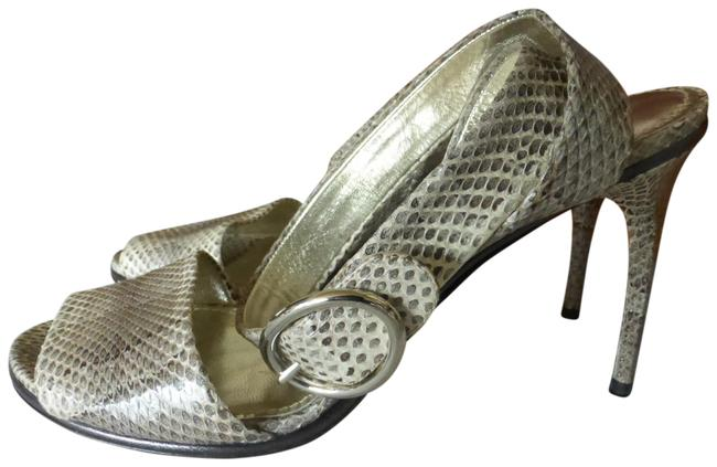 Item - Grey Snakeskin Leather Ankle Strap- Italy Sandals Size EU 39 (Approx. US 9) Regular (M, B)
