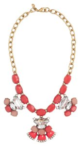 J.Crew NEW!!! tags J. Crew Cluster Statement Summer Necklace Gold Chain Coral Rhinestone Stone NWT